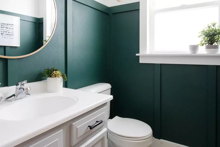 14 Ideas For Gorgeous Green Bathrooms In 2020 Green Bathroom Small Bathroom Makeover Bathroom Makeover