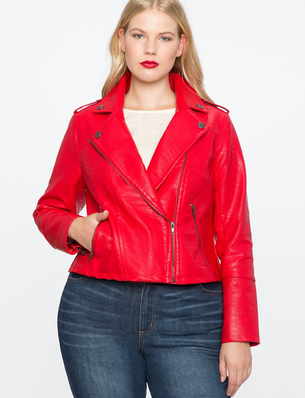 Faux Leather Moto Jacket Women's Plus Size Coats