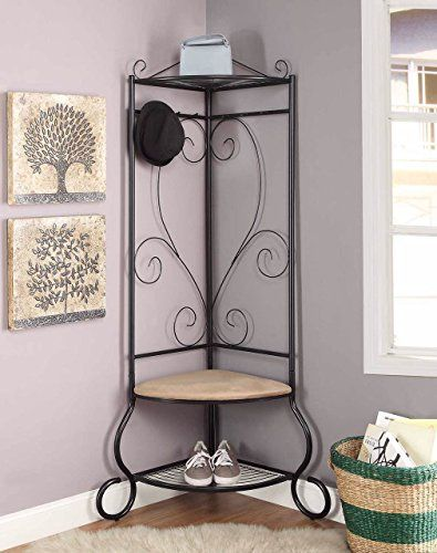 Black Metal Corner Entryway Hallway Hall Tree Shoe Rack W Https Www Amazon Com Dp B073lh Hall Tree With Storage Hall Tree Storage Bench Entryway Hall Tree