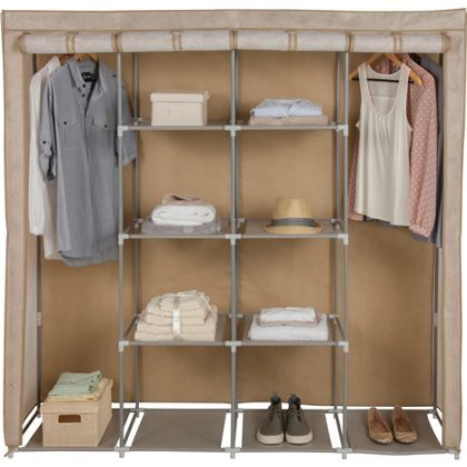 Triple Modular Metal Framed Fabric Wardrobe - Jute Effect.