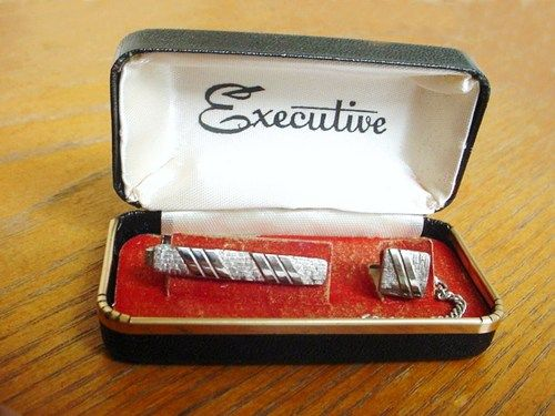 Vintage Tie Clip and Tie Tack Set in Box by Executive Silvertone | AestheticsAndOldLace - Jewelry on ArtFire