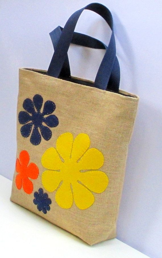 Jute tote bag, hand applique with colorful yellow red blue large flowers , handmade,summer bag, shoppers bag