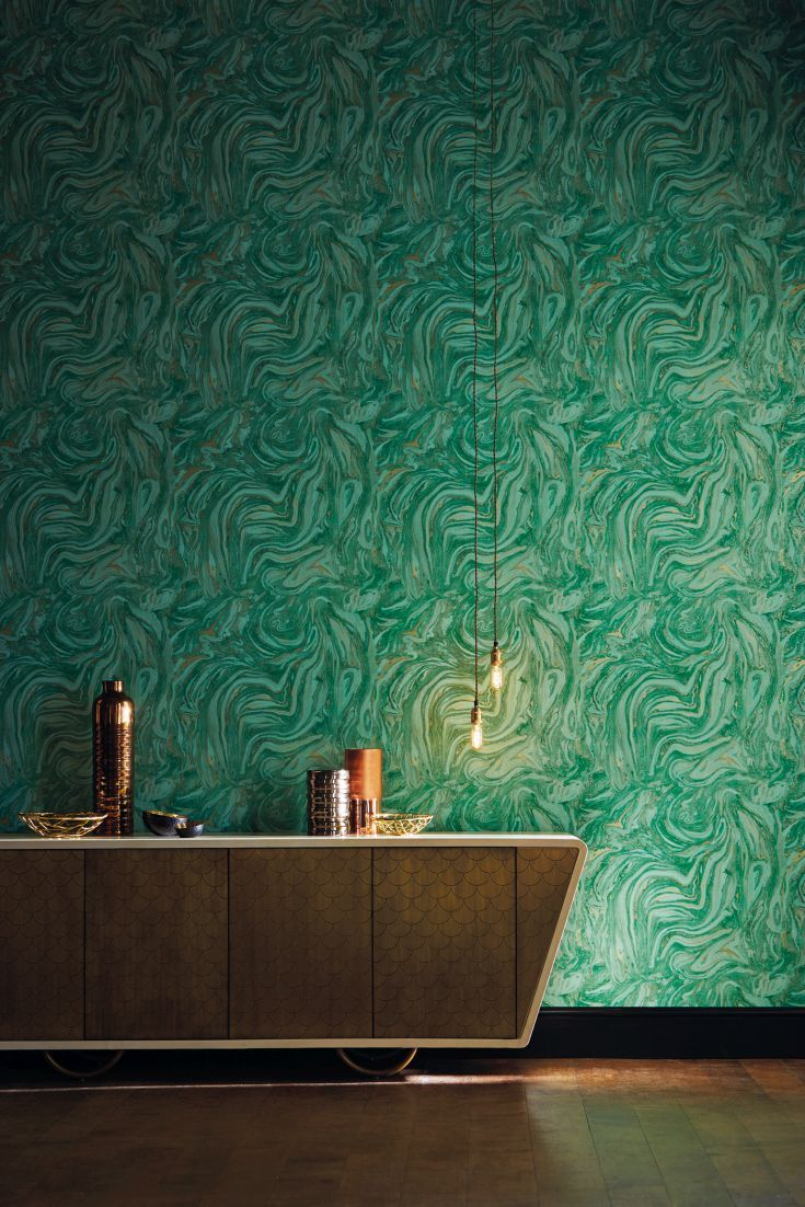 A Stunning Swirling Marble Effect Wallpaper Design In Emerald Green With Gold Highlights Marble Effect Wallpaper Wall Paint Designs Elegant Living Room Design