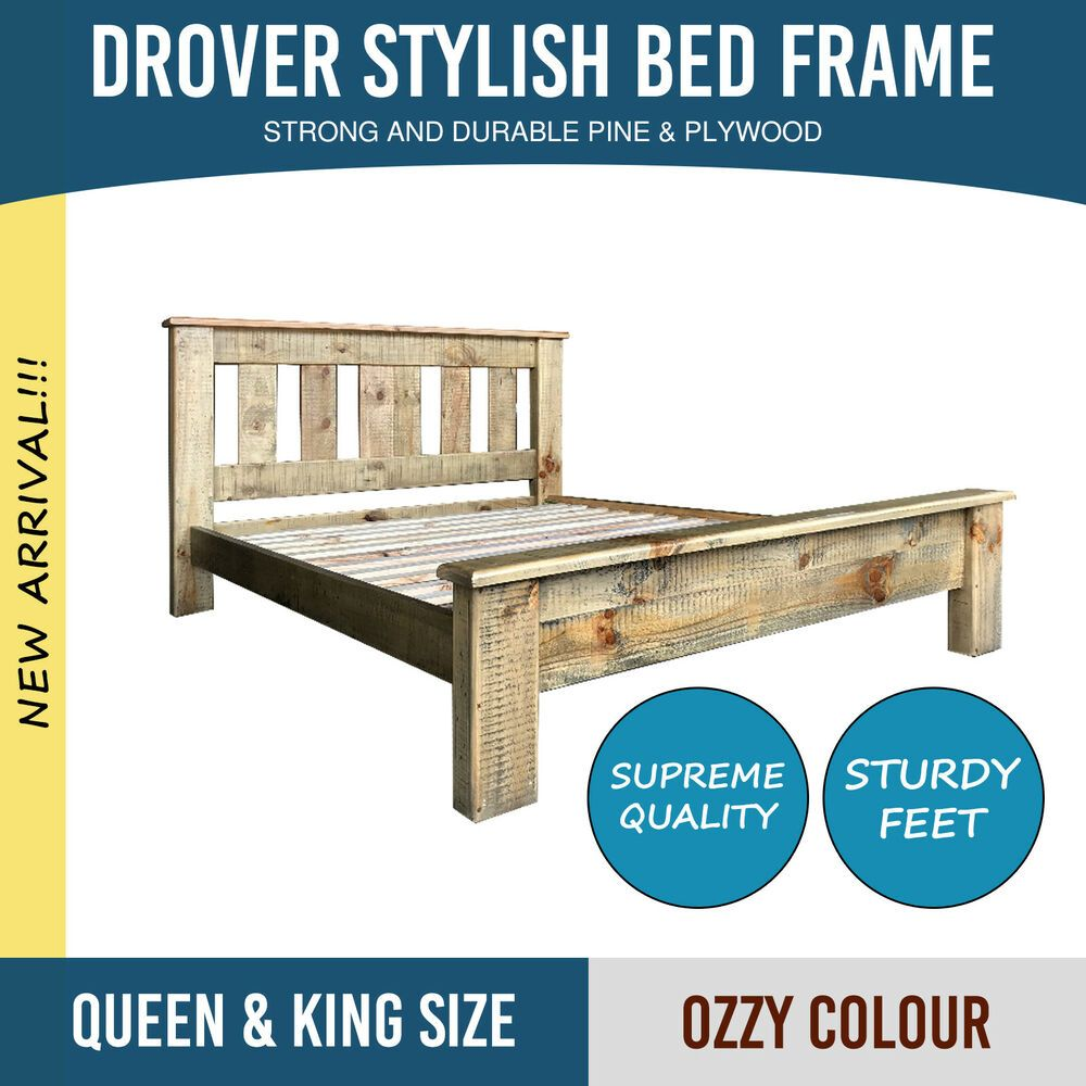 Bed Frame Queen King Pine Plywood Ozzy Colour Slat Rails