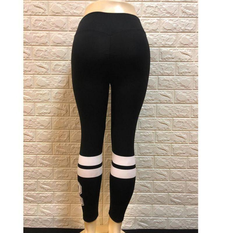 2f7d00574 Women's striped workout newest style hot sale leggings fitness black skinny pants  2018 summer pantalones para