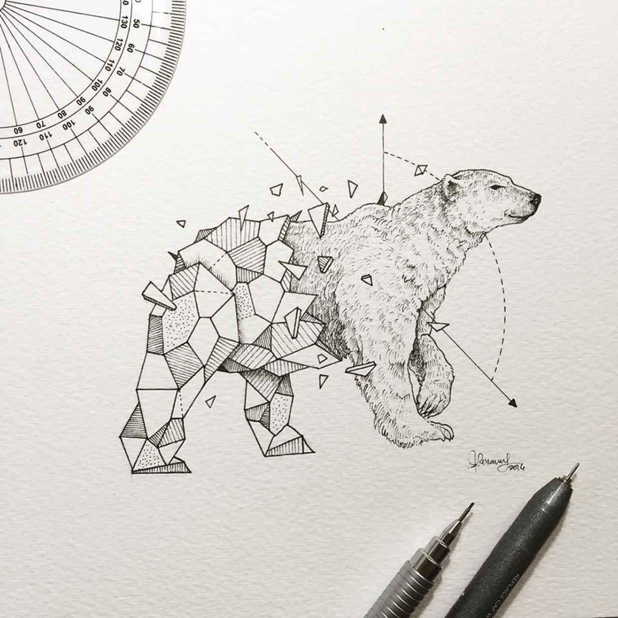wild animals and geometric shapes are fused together in beautiful