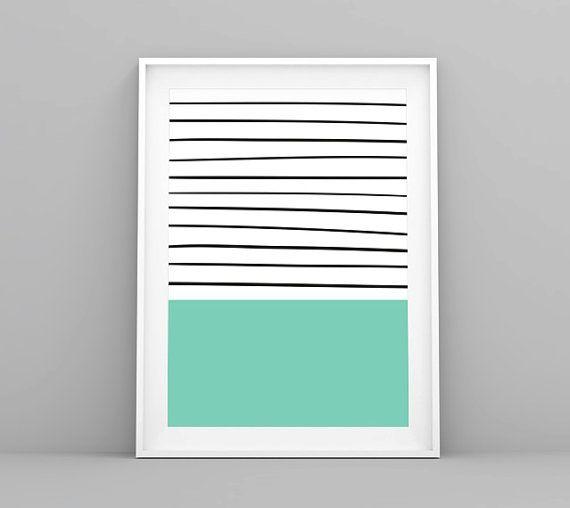 Nordic Print, Laminas Nordicas, Rayas Marineras, Stripes Print, Mint Print, Stripes, Navy, Lamina Decorativa, Nordic Decor, Modern Print