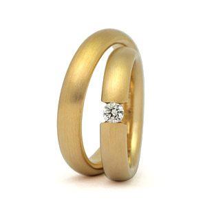 Eheringe gold schlicht  Spannring Trauringe Eheringe individuell matt gebürstet Brillant ...