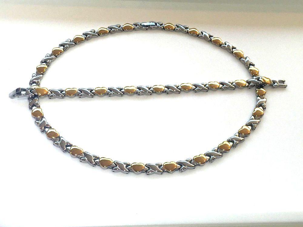 Womens Gold Tone Hugs & Kisses Necklace,Bracelet Set 18\
