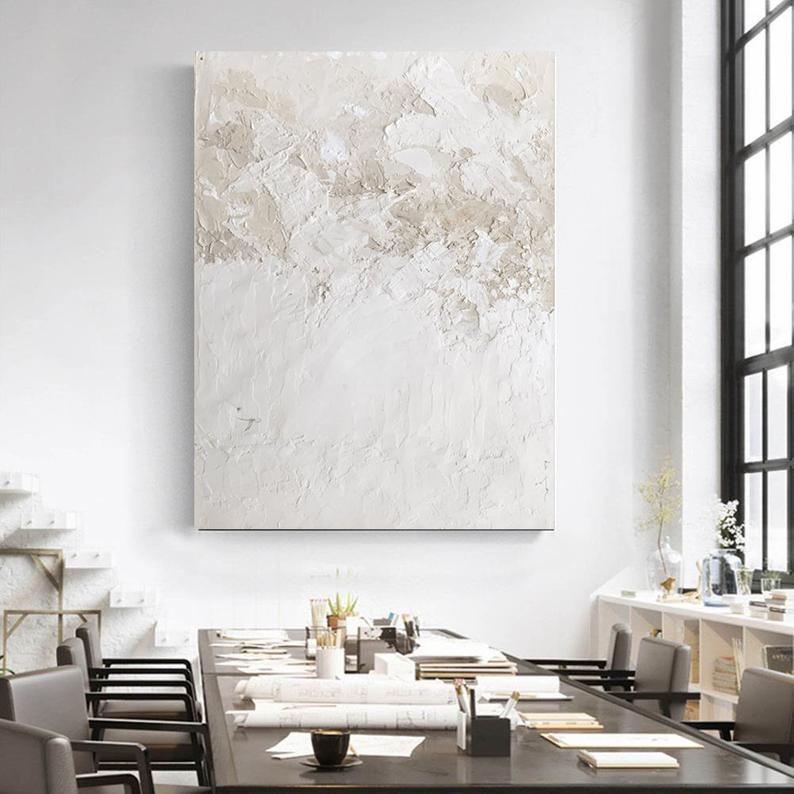 Weiße Textur abstrakte Malerei Minimalistische abstrakte | Etsy