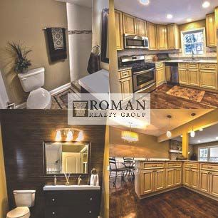 The beautiful updated kitchen and bathroom by Roman Realty Group is located in Naperville, IL