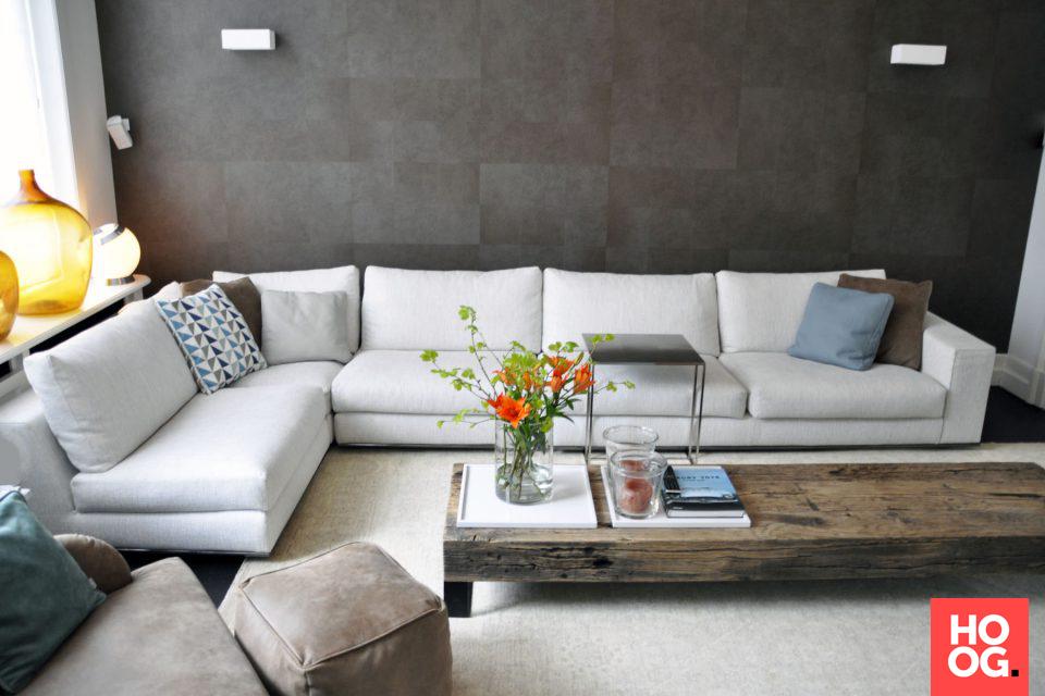 Design bank in luxe woonkamer inrichting woonkamer ideeën living