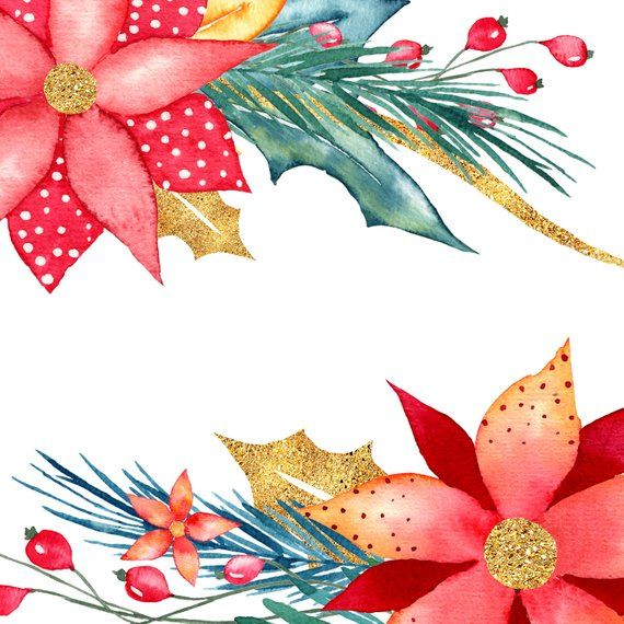 Watercolor christmas clipart, christmas wreath, gold ...