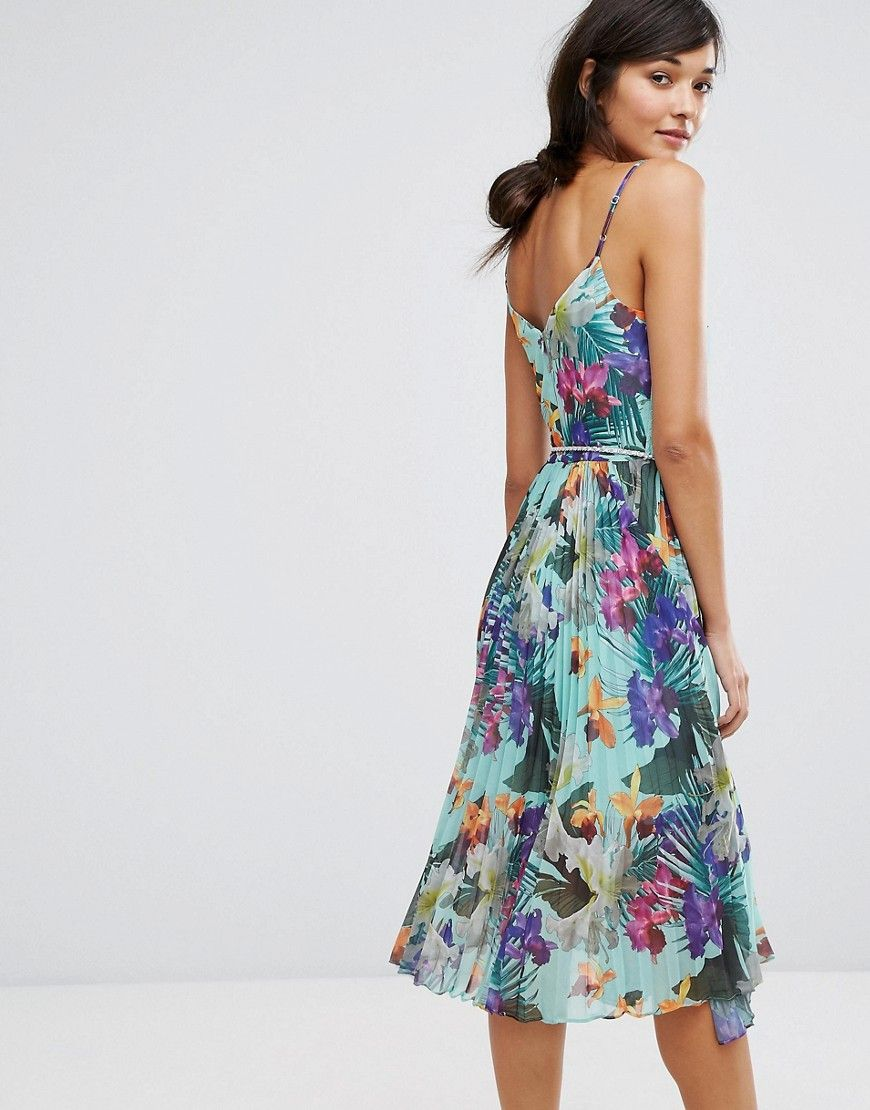 d0d55523a636 Oasis Tropical Pleat Midi Cami Dress - Multi | Products | Fashion ...