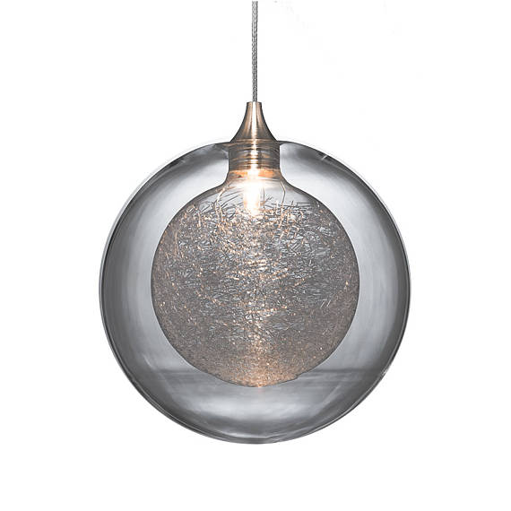 hand made glass pendant light with enclosed glass threads