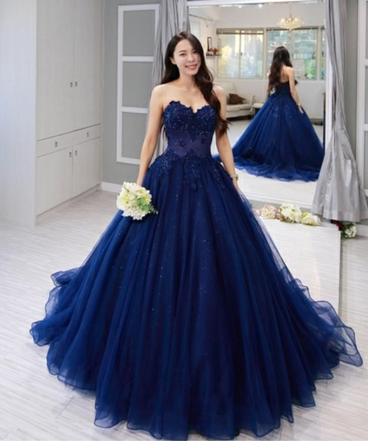 Royal Blue Sparkle Tulle Prom Evening Gowns Quinceanera Dresses Blue Ball Gowns Prom Prom Dresses Ball Gown [ 1440 x 1200 Pixel ]