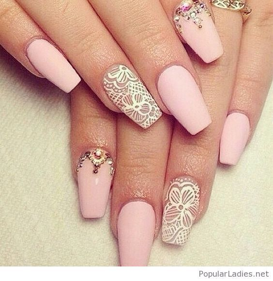 Long Light Pink Nails With Lace Detail And More
