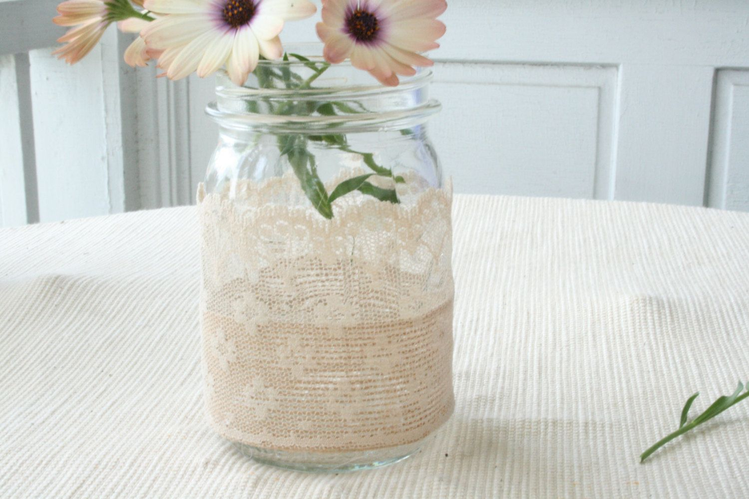 2 Burlap and Lace Mason Jar Wedding Decor Parties by NRZimmerLong ...