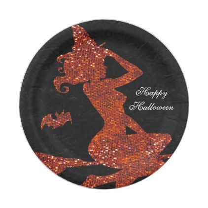 Glam Witch Flying on Broom Halloween Party Paper Plate - halloween - unique halloween decor