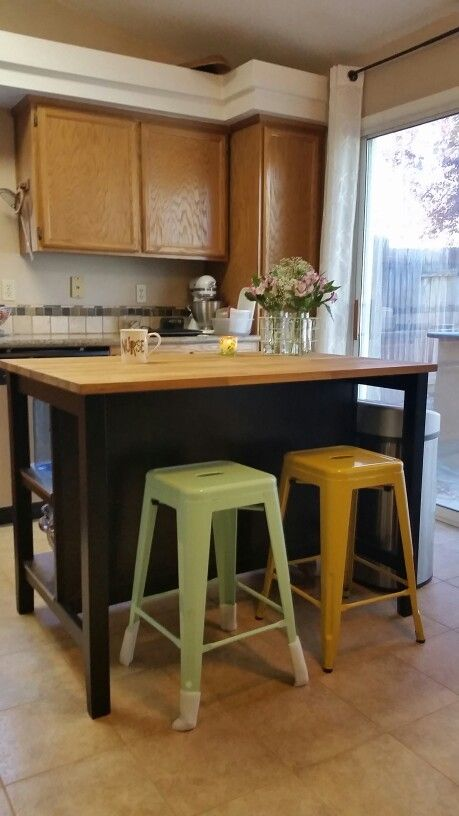 Target Carlisle stools in Mint and Yellow Ikea Stenstorp kitchen
