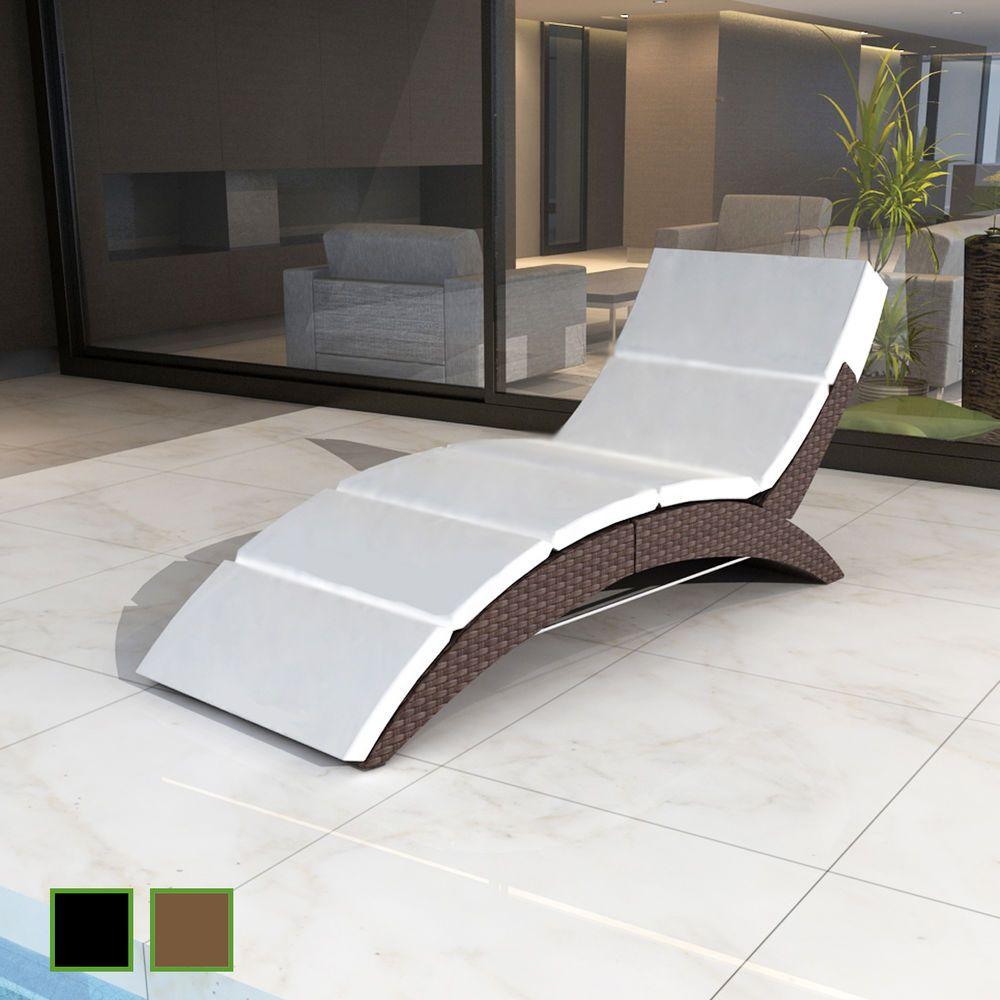 Poly Rattan Liege Gartenliege Sonnenliege Relax Liegestuhl