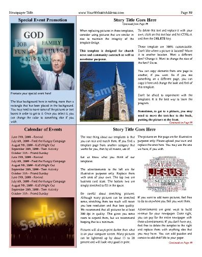 Inside page to highlight stories, articles, special events, and - newspaper headline template