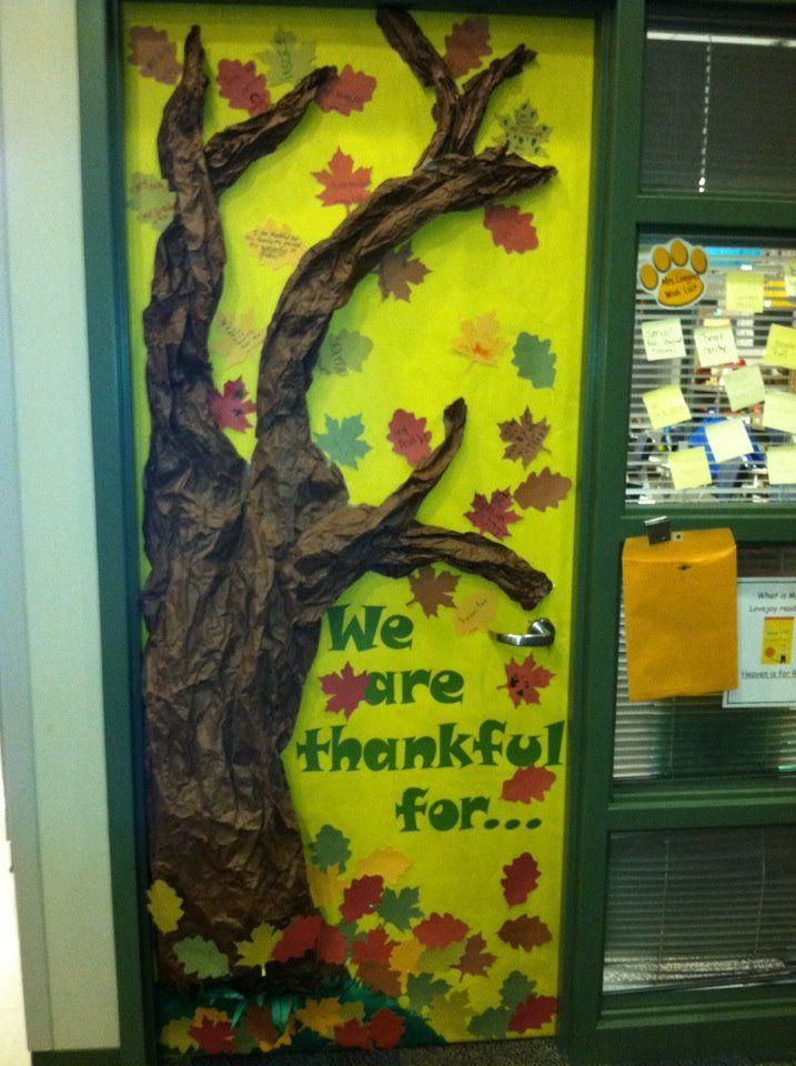 November Classroom Decor ~ Classroom door for november i had all the kids write