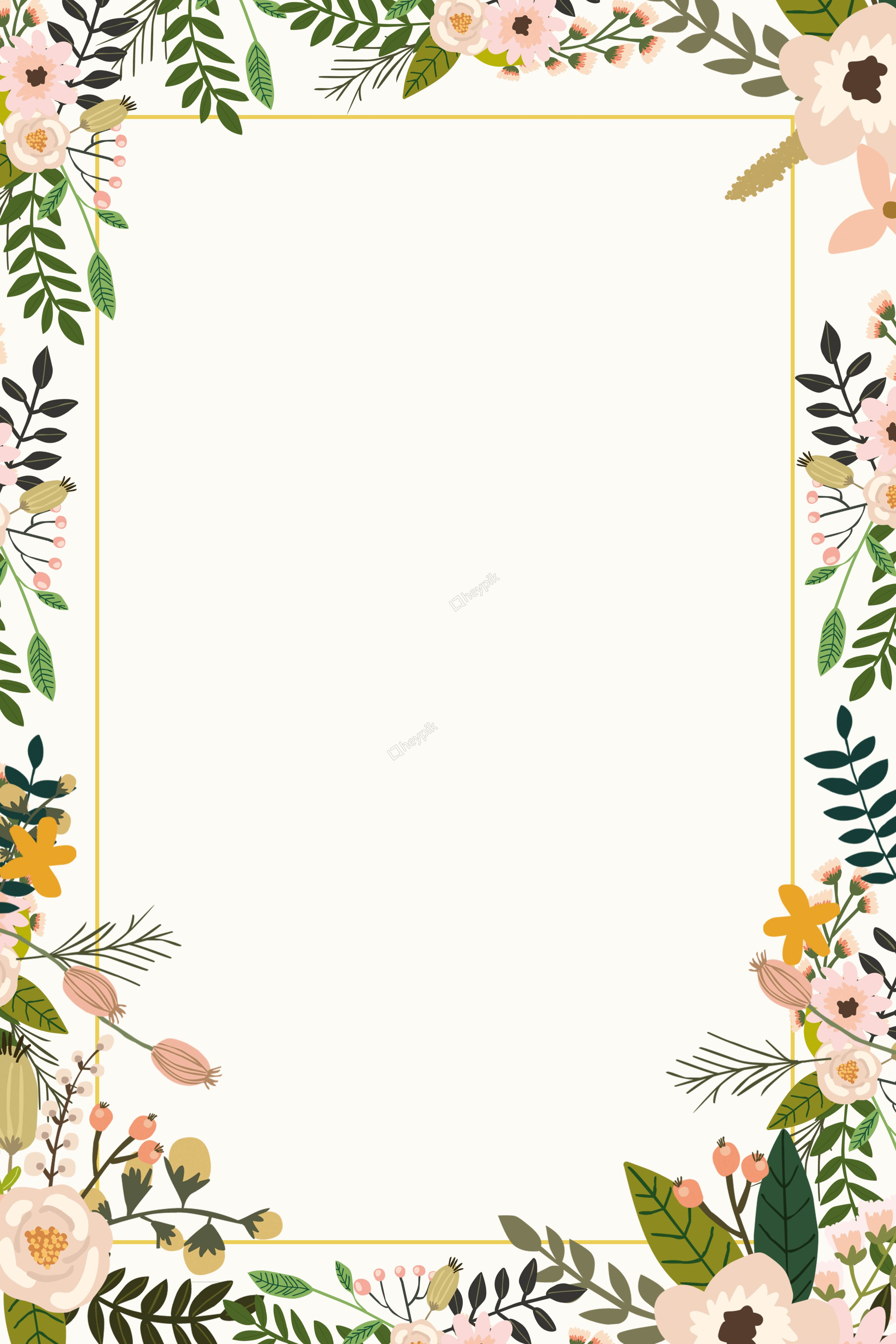 Color plant flower border background poster Poster bunga
