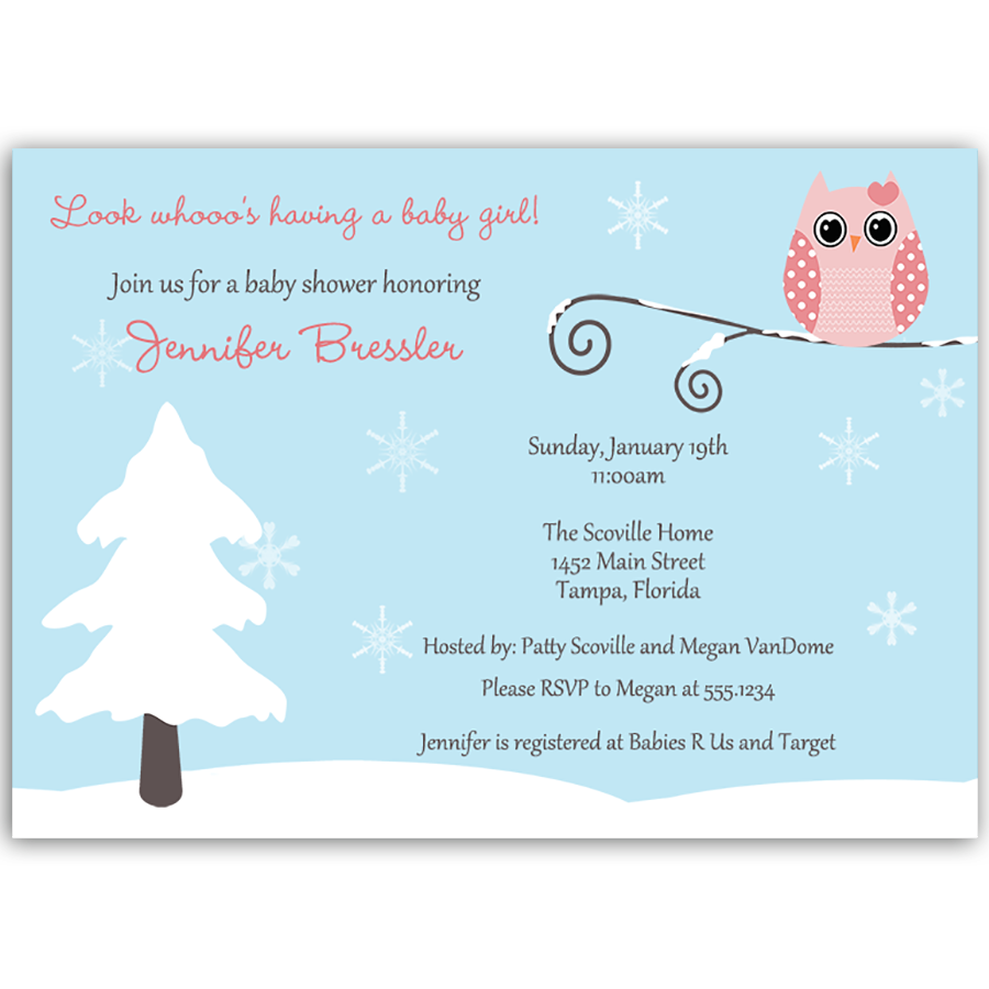 Winter is a Hoot Pink Baby Shower Invitation | Pinterest | Pink owl ...