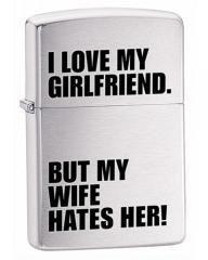 Zippo I Love My Girlfriend Brushed Chrome Lighter