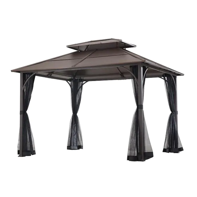 Sunjoy Brown Metal Rectangle Screened Gazebo Exterior 12 Ft X 8 7 Ft Foundation 10 7 Ft X 8 7 Ft Lowes Com In 2020 Screened Gazebo Gazebo Steel Gazebo