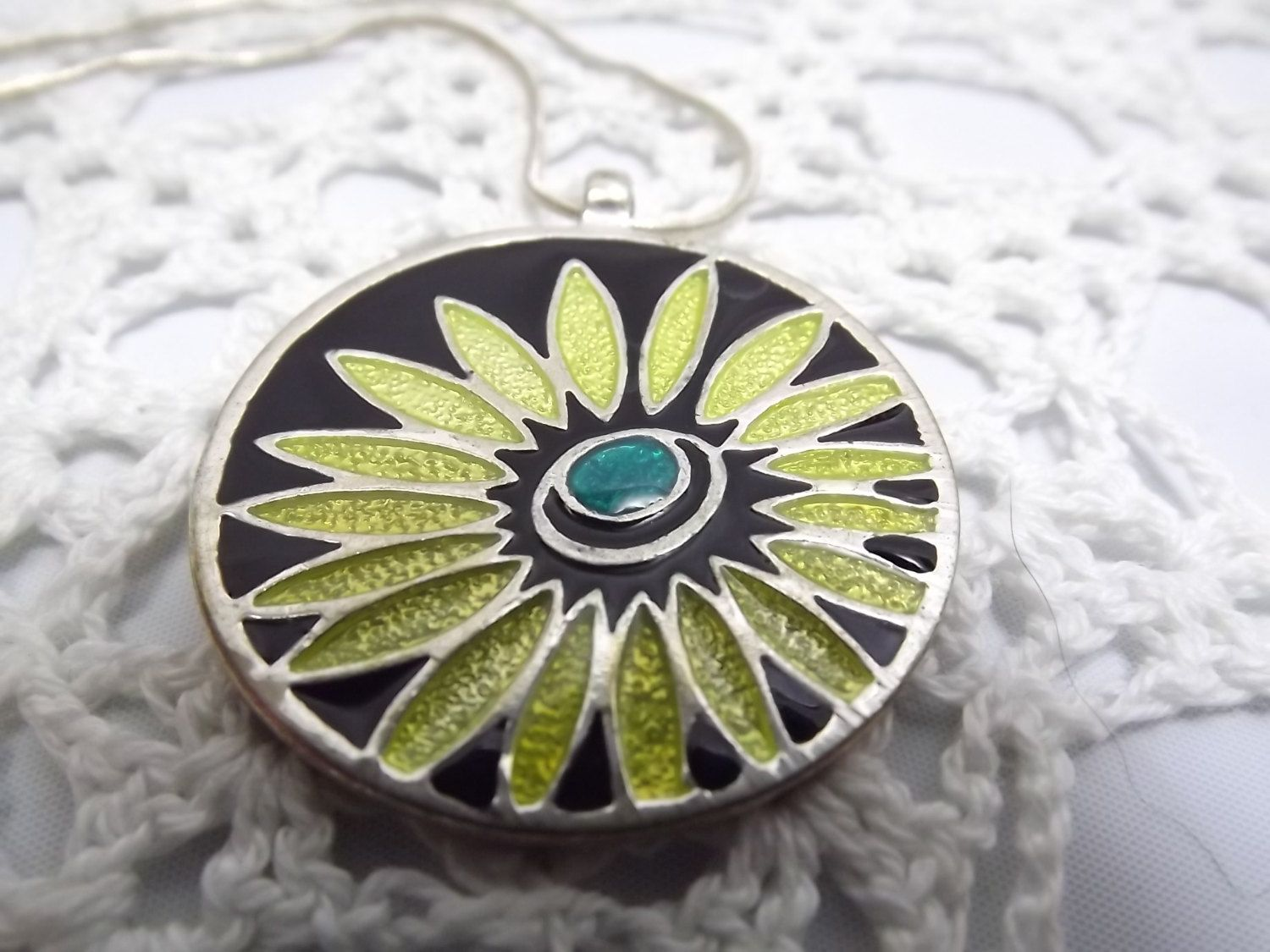 Cloisonne Flower Power Pendant, Vintage Round Enamel on Silver tone Pendant on Silver Chain, Yellow Flower with Green Center all on Black by OutrageousVintagious on Etsy