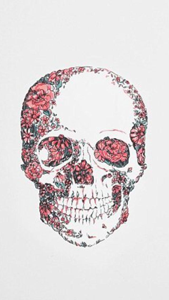 Pink flower skull iphone wallpapers pinterest flower skull pink flower skull mightylinksfo