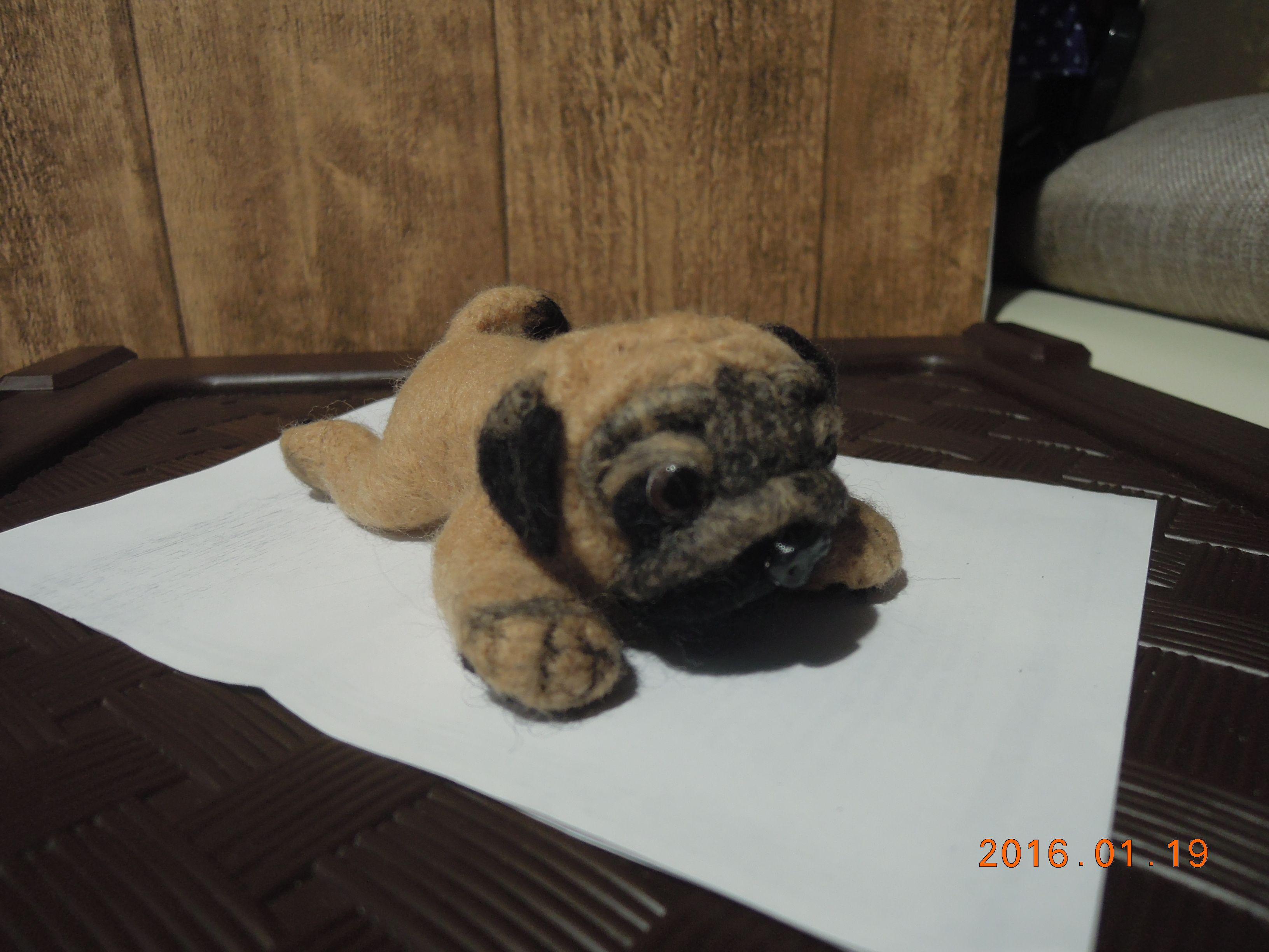 щенок мопсика, игрушка ручной работы, фелтинг