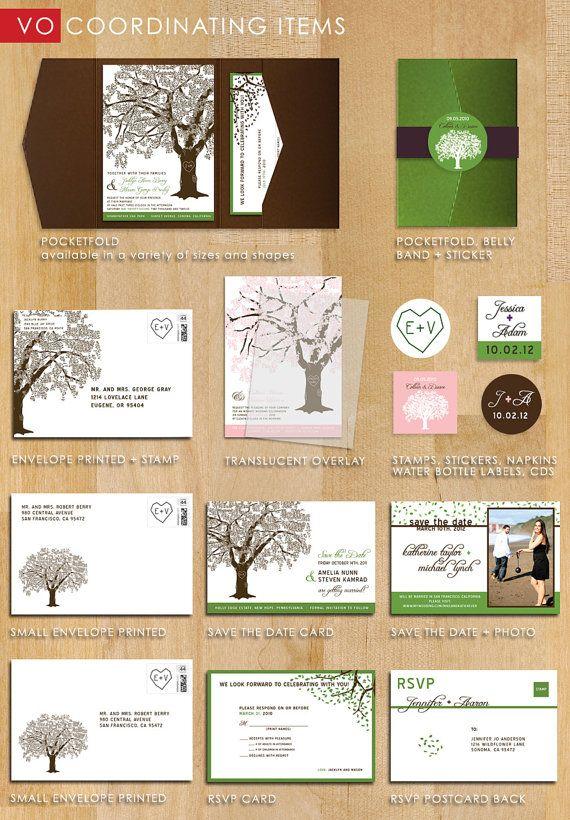 Sample Of Grandfather Oak Tree Pocketfold Wedding Invitations