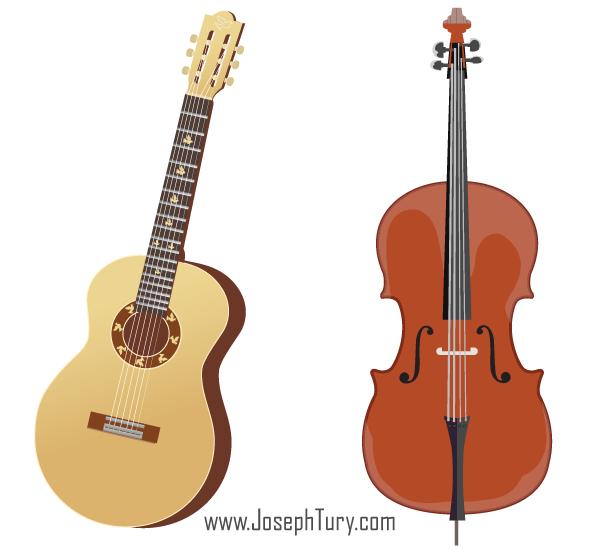 Free Acoustic Guitar Cello Vectors Acoustic Guitar Guitar Cello