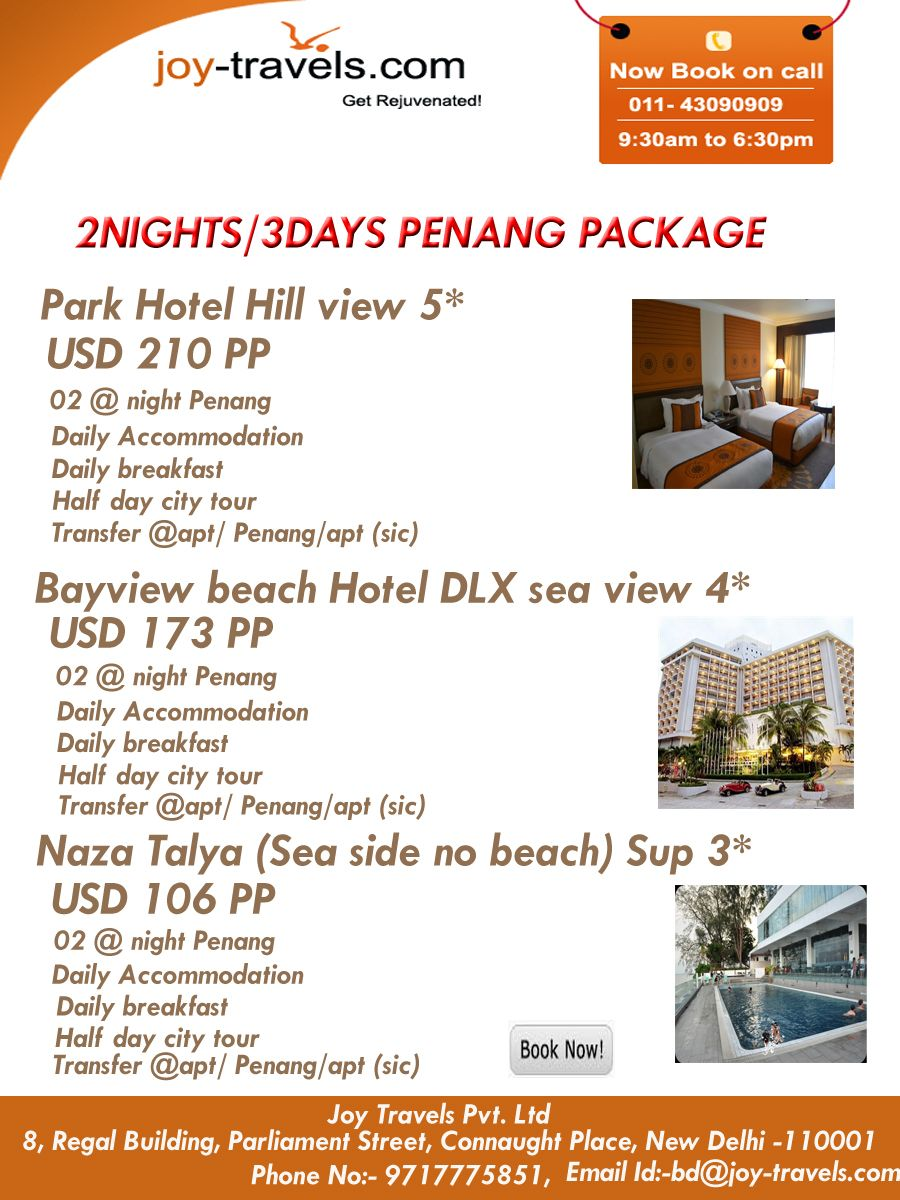Book Online Hotels In Holiday Package From India Bayview Beach Hotel Dlx Sea View 02 Night Penang Daily Accommodation With Breakfast Half Day City