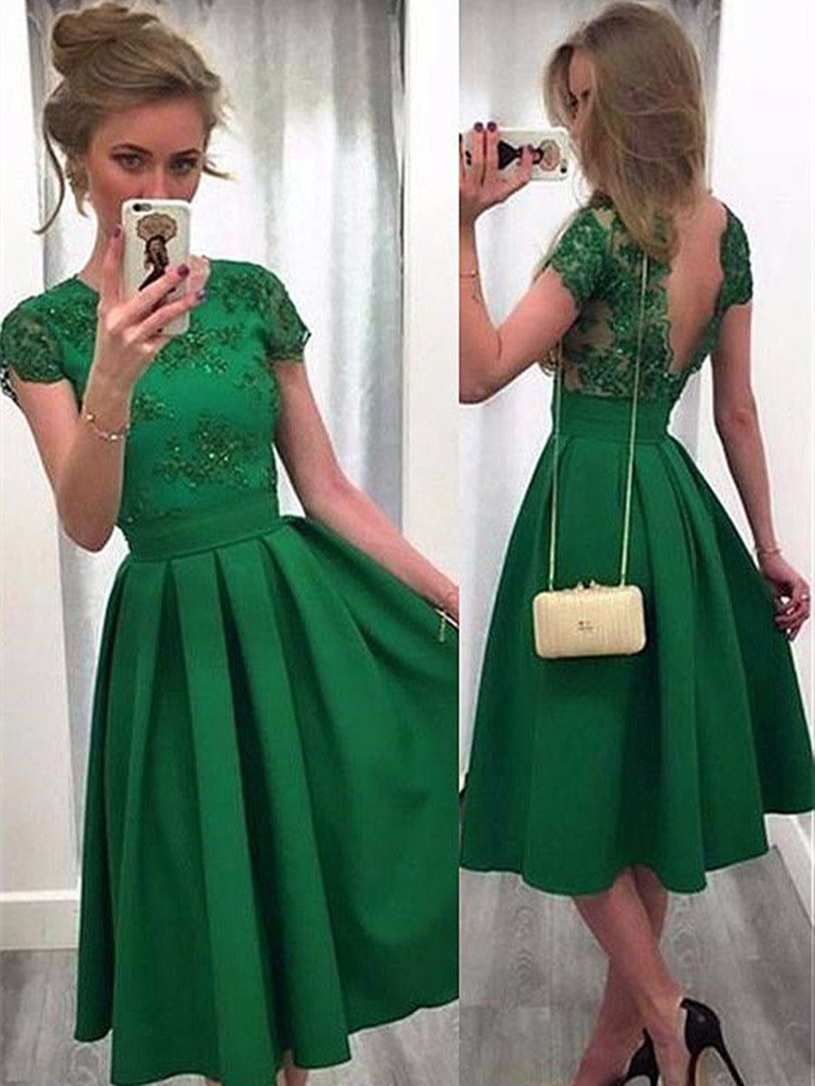 Round Neck Appliques Beading Knee-Length Cocktail Dress  Green