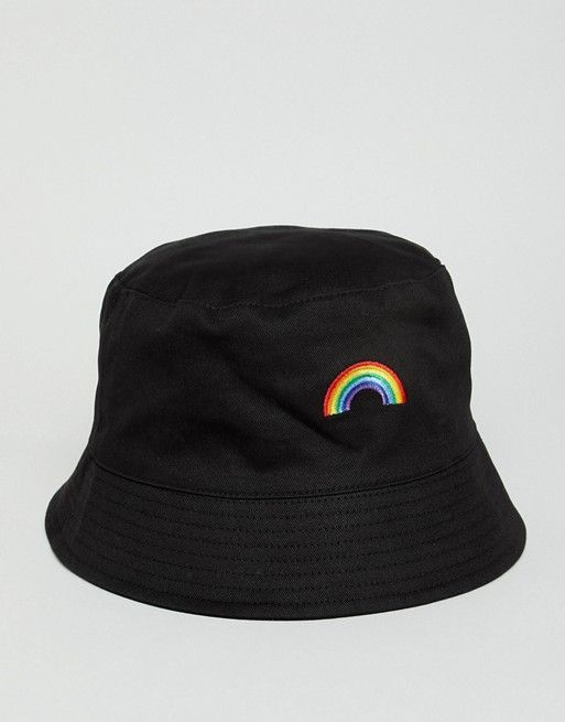 57f52af0dc2 DESIGN bucket hat in black with rainbow embroidery in 2019