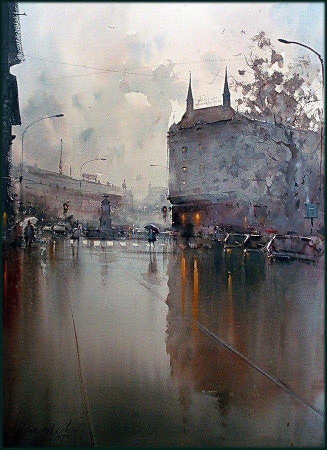 Dusan Djukaric Prizrenska street, watercolor, 54x74 cm ...