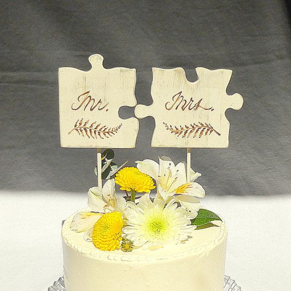 Mr and Mrs Rustic Cake Topper, Puzzle Piece Cake Topper, Rustic ...