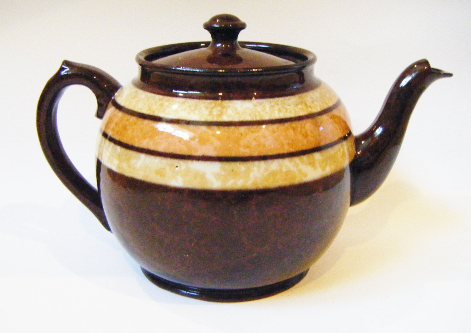 Making Tea In A Teapot Antique Sadler Rockingham Brown Glaze Brown Betty Teapot