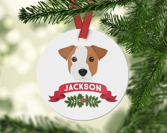 Jack Russell Gift Ornament - Custom Dog Ornament - Jack Russell present -  Personalized Pet Christmas - Jack Russell Gift Ornament - Custom Dog Ornament - Jack Russell