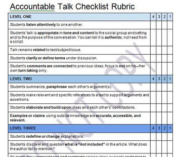 This rubric has three levels: Level 1 is the basic academic conversation where students show that they are listening and responding using the Accountable Talk Stems as transitions between participants. Level 2 is a slightly higher level where students paraphrase, cite specific portions of text and elaborate on one another's thinking.