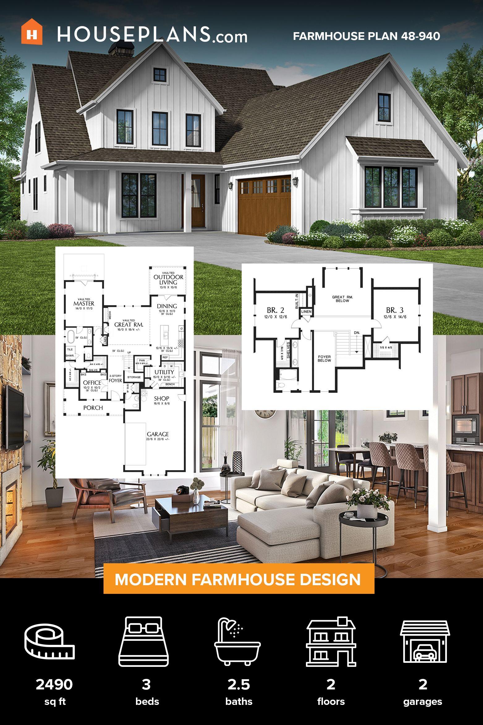 Farmhouse style house plan 3 beds 25 baths 2490 sqft