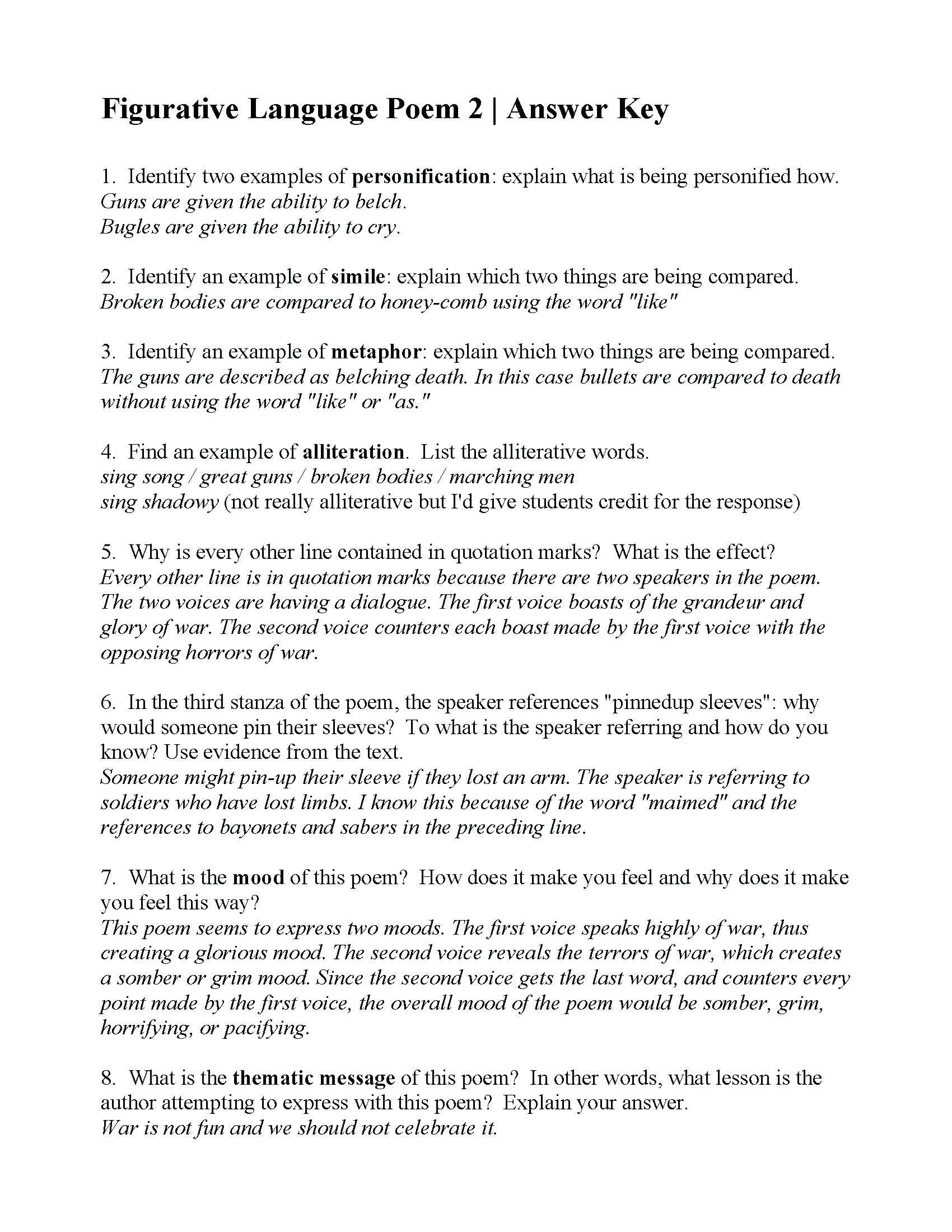 5 Sample Grade 5 Reading Comprehension Evaluating Expressions Word Problems Workshe In 2020 Figurative Language Poems Figurative Language Worksheet Language Worksheets