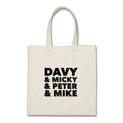 "#black - #""Davy/Micky/Peter/Mike"" Black Type Tote Bag"