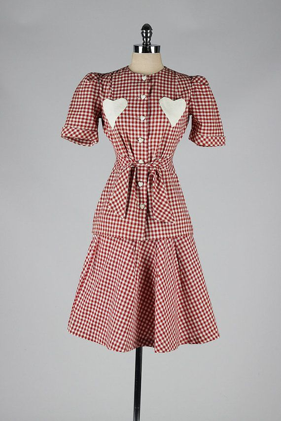 vintage 1940s suit . red gingham hearts . 2pc by millstreetvintage