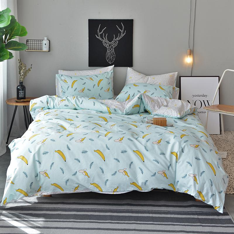 Bedding Double Sided Quilt Cover Set 100 Cotton Bananas Pattern B 54 King Size Bedding Sets Green Duvet Covers Duvet Cover Sets