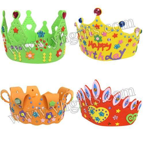 12PCS/LOT.Handmade birthday crown craft kits,Kids party supplies,Model building kits.Early educational toys.Kids DIY.Wholesale.